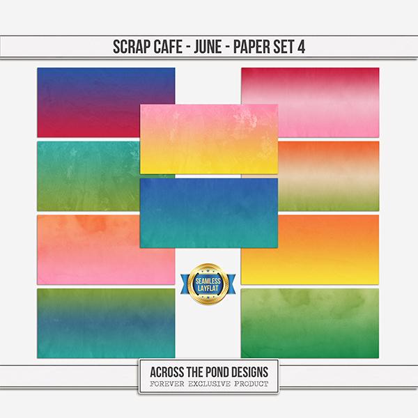 Scrap Cafe - June - Paper Set 4 Digital Art - Digital Scrapbooking Kits