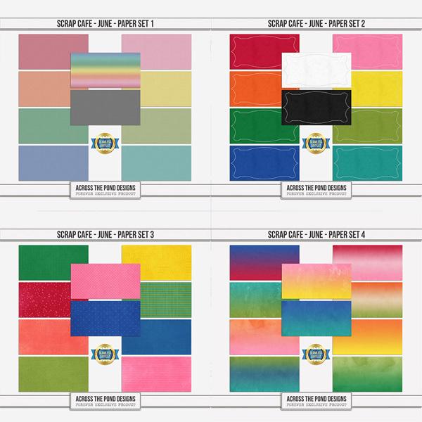Scrap Cafe - June - Paper Set Bundle Digital Art - Digital Scrapbooking Kits