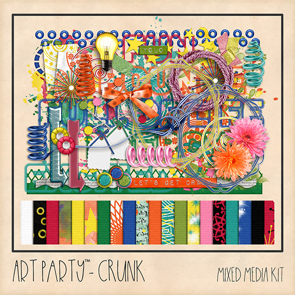 Crunk Mixed Media Kit Digital Art - Digital Scrapbooking Kits