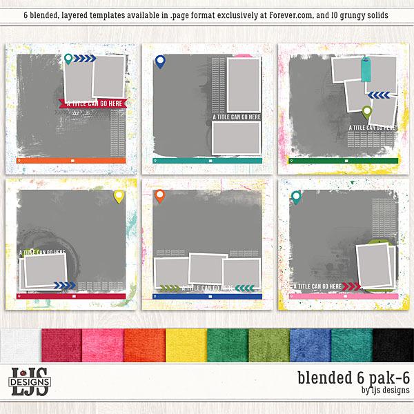 Blended 6 Pak 6 Digital Art - Digital Scrapbooking Kits