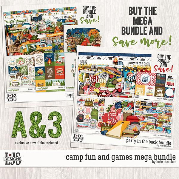 Camp Fun And Games Mega Bundle Digital Art - Digital Scrapbooking Kits
