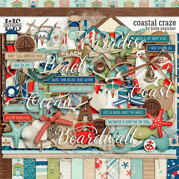 Coastal Craze Digital Art - Digital Scrapbooking Kits
