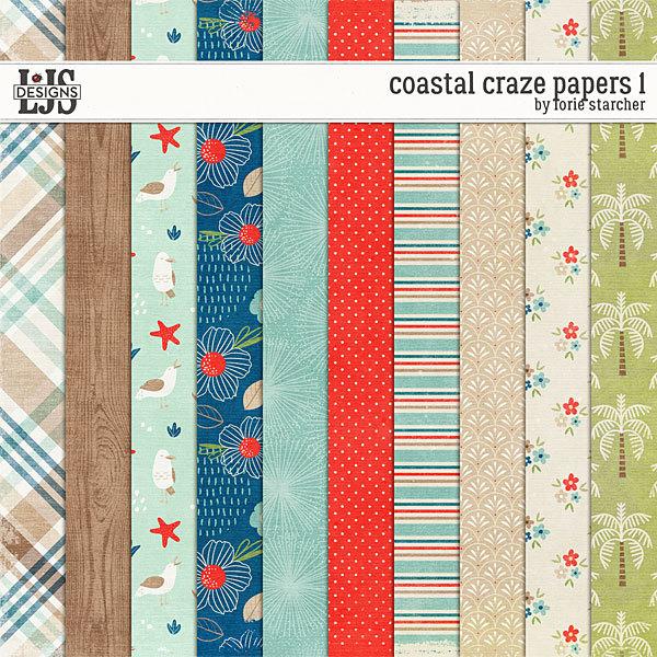 Coastal Craze Papers 1 Digital Art - Digital Scrapbooking Kits