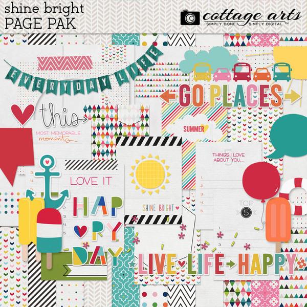 Shine Bright Page Pak Digital Art - Digital Scrapbooking Kits