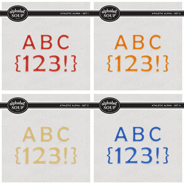Athletic Alpha Bundle Digital Art - Digital Scrapbooking Kits