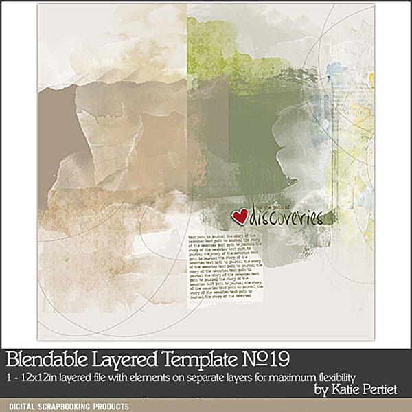 Blendables Layered Template 19 Digital Art - Digital Scrapbooking Kits