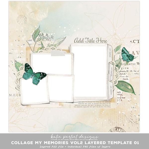 Collage My Memories Vol. 02 Layered Template 01 Digital Art - Digital Scrapbooking Kits
