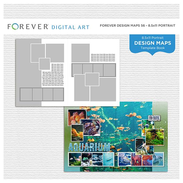 Forever Design Maps 56 - 8.5x11 Digital Art - Digital Scrapbooking Kits