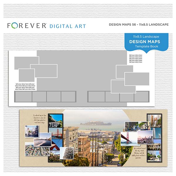 Forever Design Maps 56 - 11x8.5 Digital Art - Digital Scrapbooking Kits