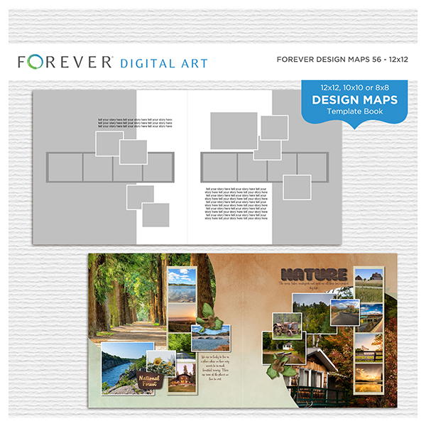 Forever Design Maps 56 - 12x12 Digital Art - Digital Scrapbooking Kits