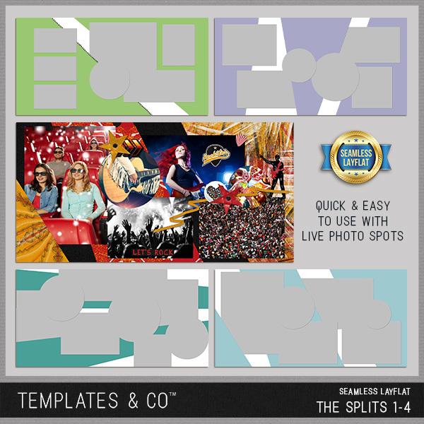 The Splits Seamless Layflat 1-4 Digital Art - Digital Scrapbooking Kits