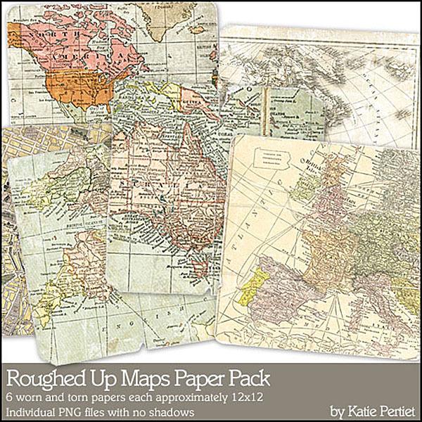 Roughed Up Maps Paper Pack 01 Digital Art - Digital Scrapbooking Kits