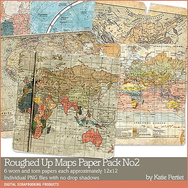 Roughed Up Maps Paper Pack 02 Digital Art - Digital Scrapbooking Kits