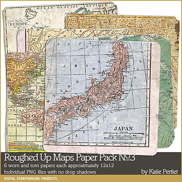 Roughed Up Maps Paper Pack 03 Digital Art - Digital Scrapbooking Kits