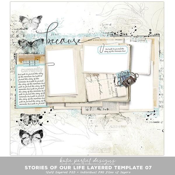 Stories of our Life Layered Template 07 Digital Art - Digital Scrapbooking Kits