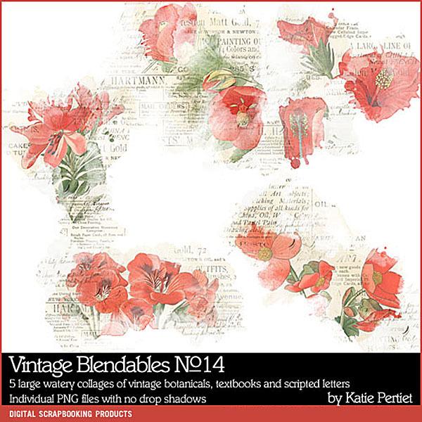 Vintage Blendables 14 Digital Art - Digital Scrapbooking Kits