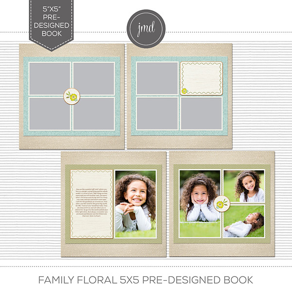 Family Floral 5x5 Pre-Designed Book Digital Art - Digital Scrapbooking Kits