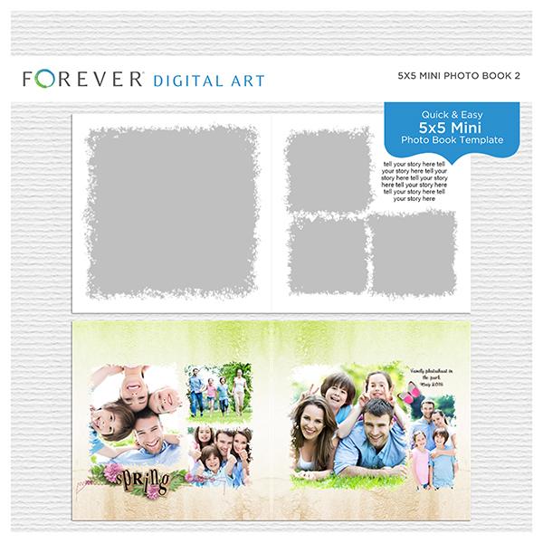 5x5 Mini Photo Book 2 Digital Art - Digital Scrapbooking Kits