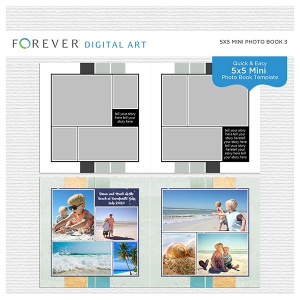 5x5 Mini Photo Book 3 Digital Art - Digital Scrapbooking Kits