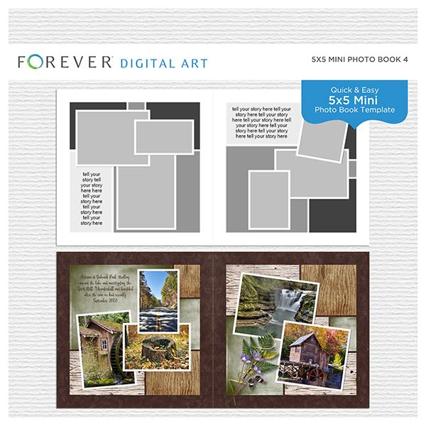 5x5 Mini Photo Book 4 Digital Art - Digital Scrapbooking Kits