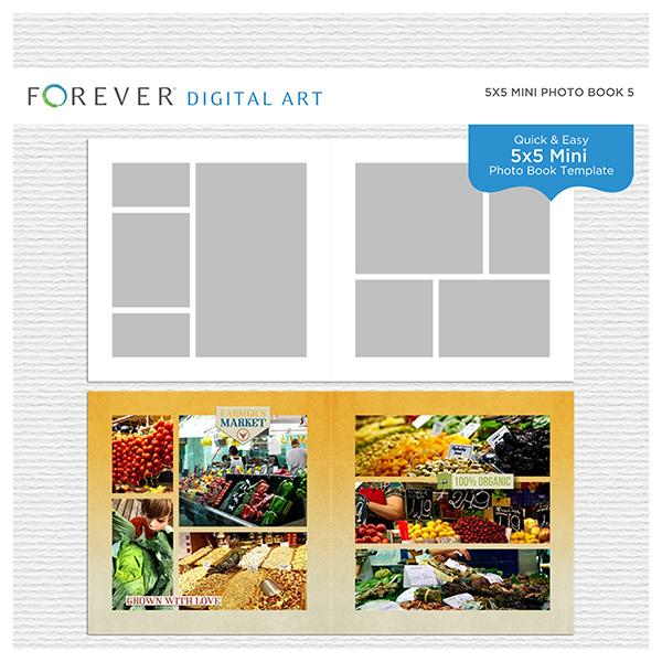 5x5 Mini Photo Book 5 Digital Art - Digital Scrapbooking Kits