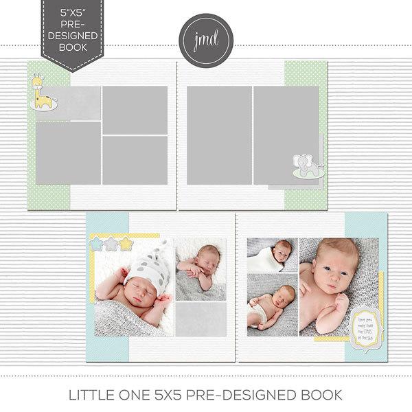 Little One 5x5 Pre-Designed Book Digital Art - Digital Scrapbooking Kits