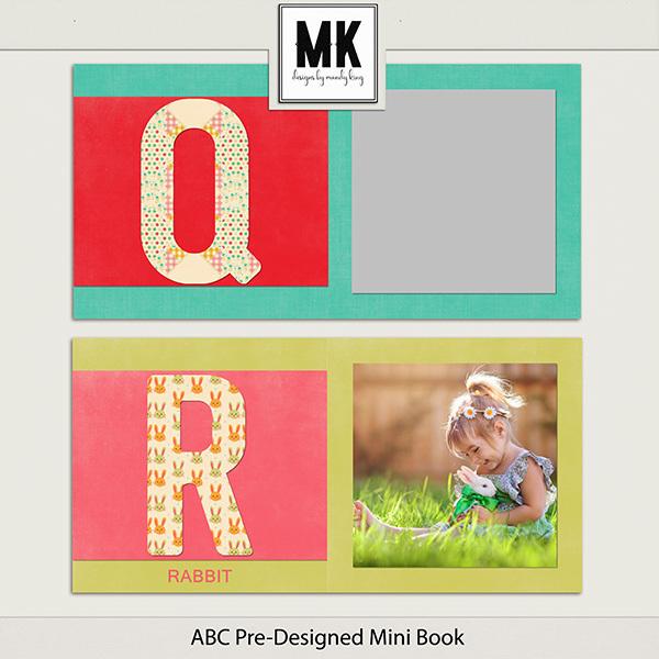 ABC Pre-Designed Mini Book Digital Art - Digital Scrapbooking Kits
