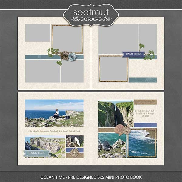 Ocean Time - Pre Designed 5x5 Mini Photo Book Digital Art - Digital Scrapbooking Kits
