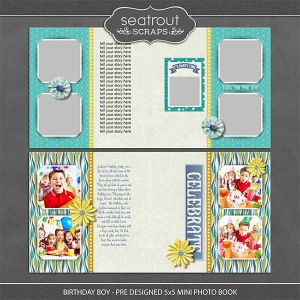 Birthday Boy - Pre Designed Mini Photo Book Digital Art - Digital Scrapbooking Kits