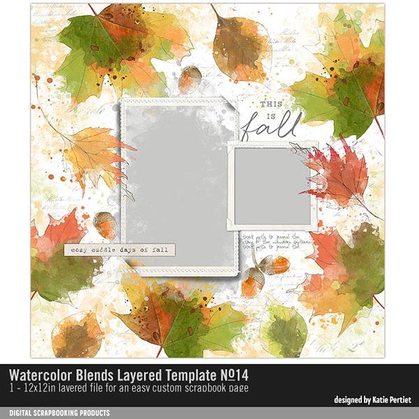 Watercolor Blends Layered Template 14 Digital Art - Digital Scrapbooking Kits