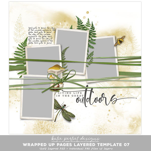 Wrapped Up Pages Layered Template 07 Digital Art - Digital Scrapbooking Kits
