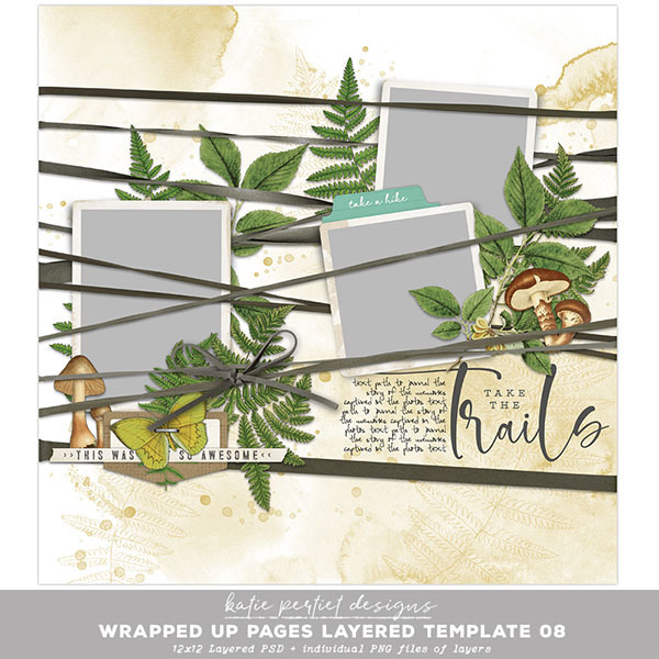 Wrapped Up Pages Layered Template 08 Digital Art - Digital Scrapbooking Kits