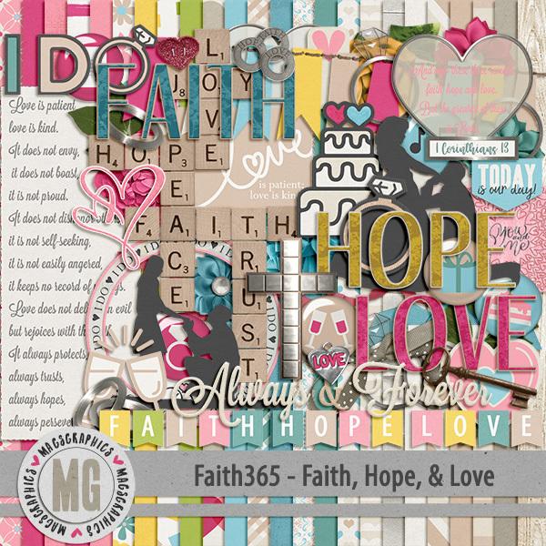 Faith365 Faith, Hope, & Love Kit Digital Art - Digital Scrapbooking Kits