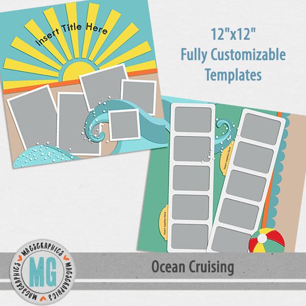 Ocean Cruising Template Sampler Digital Art - Digital Scrapbooking Kits