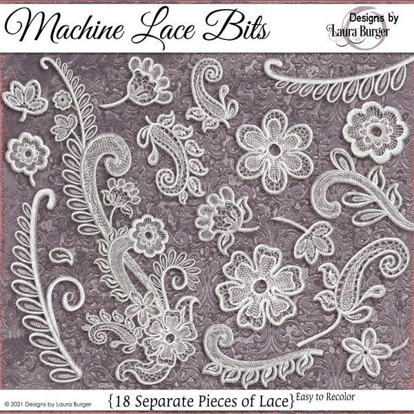 Machine Lace Pieces Digital Art - Digital Scrapbooking Kits