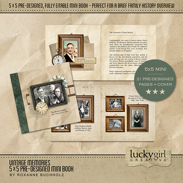 Vintage Memories 5x5 Pre-Designed Mini Book Digital Art - Digital Scrapbooking Kits
