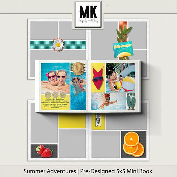 Summer Adventures Pre-Designed 5x5 Mini Book Digital Art - Digital Scrapbooking Kits