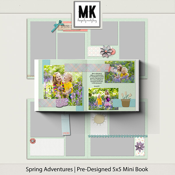 Spring Adventures Pre-Designed 5x5 Mini Book Digital Art - Digital Scrapbooking Kits