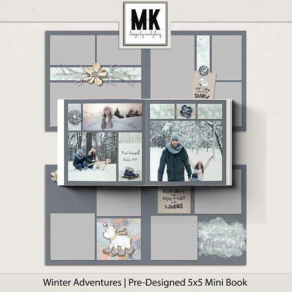 Winter Adventures Pre-Designed 5x5 Mini Book Digital Art - Digital Scrapbooking Kits