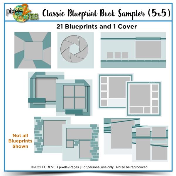 Classic Blueprint Sampler 5x5 Digital Art - Digital Scrapbooking Kits