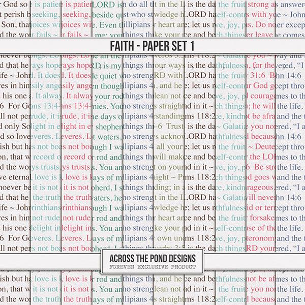 Faith Paper Set 1 Digital Art - Digital Scrapbooking Kits