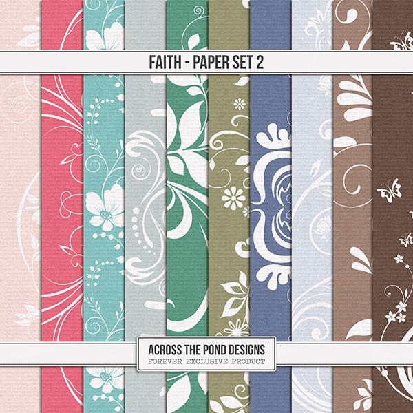 Faith Paper Set 2 Digital Art - Digital Scrapbooking Kits