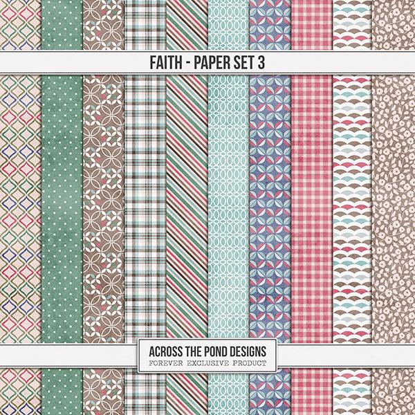 Faith Paper Set 3 Digital Art - Digital Scrapbooking Kits