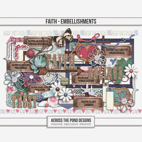 Faith Embellishments Digital Art - Digital Scrapbooking Kits