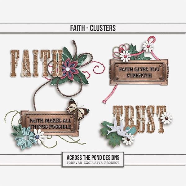 Faith Clusters Digital Art - Digital Scrapbooking Kits
