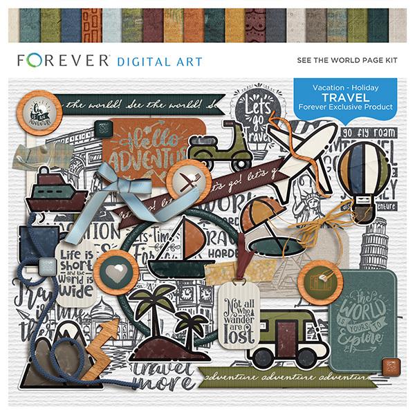 See The World Page Kit Digital Art - Digital Scrapbooking Kits