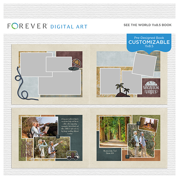 See The World Pre-Designed Book 11x8.5 Digital Art - Digital Scrapbooking Kits