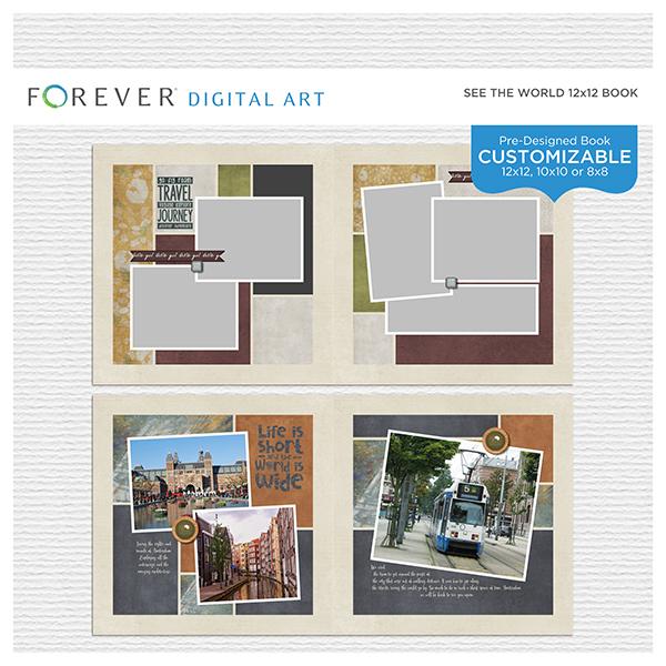 See The World Pre-Designed Book 12x12 Digital Art - Digital Scrapbooking Kits