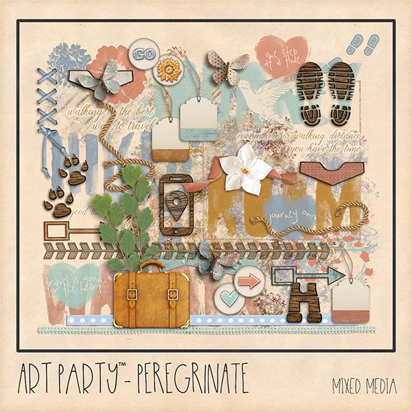Peregrinate Mixed Media Embellishments Digital Art - Digital Scrapbooking Kits
