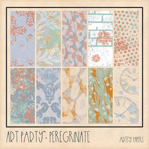 Peregrinate Artsy Papers Digital Art - Digital Scrapbooking Kits